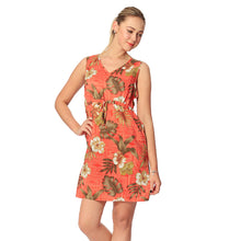Load image into Gallery viewer, R91-D8459 (Brick floral), Ladies Aloha Dress 100% Rayon