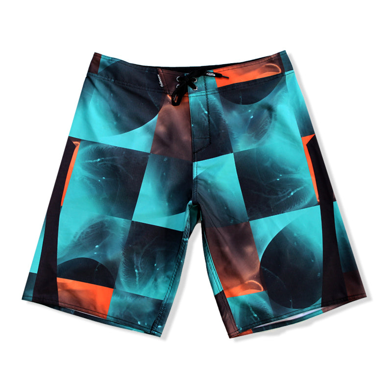 N90-B8508 (Quad sequence-teal/orange), Men Microfiber Boardshorts- (4-way stretch)