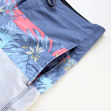 Load image into Gallery viewer, N90-B9618 (Verdant divide-slate blue/ceramic), Men Microfiber Boardshorts (4 - way stretch) - three pockets