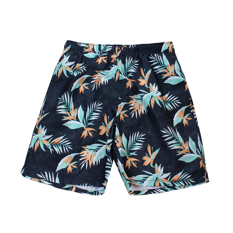 N90-T9158 (Bird of paradise-navy/orange), Men Microfiber Swimtrunk
