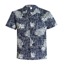 Load image into Gallery viewer, C90-A517N (Vintage navy pineapple), Men 100% Cotton Aloha Shirts.