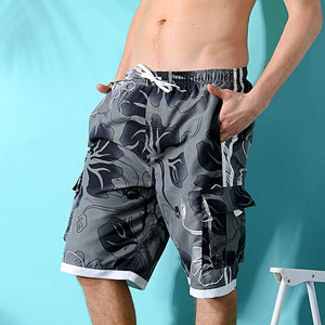 N90-T760 (Gray floral, cargo pockets), Men Microfiber Swimtrunk