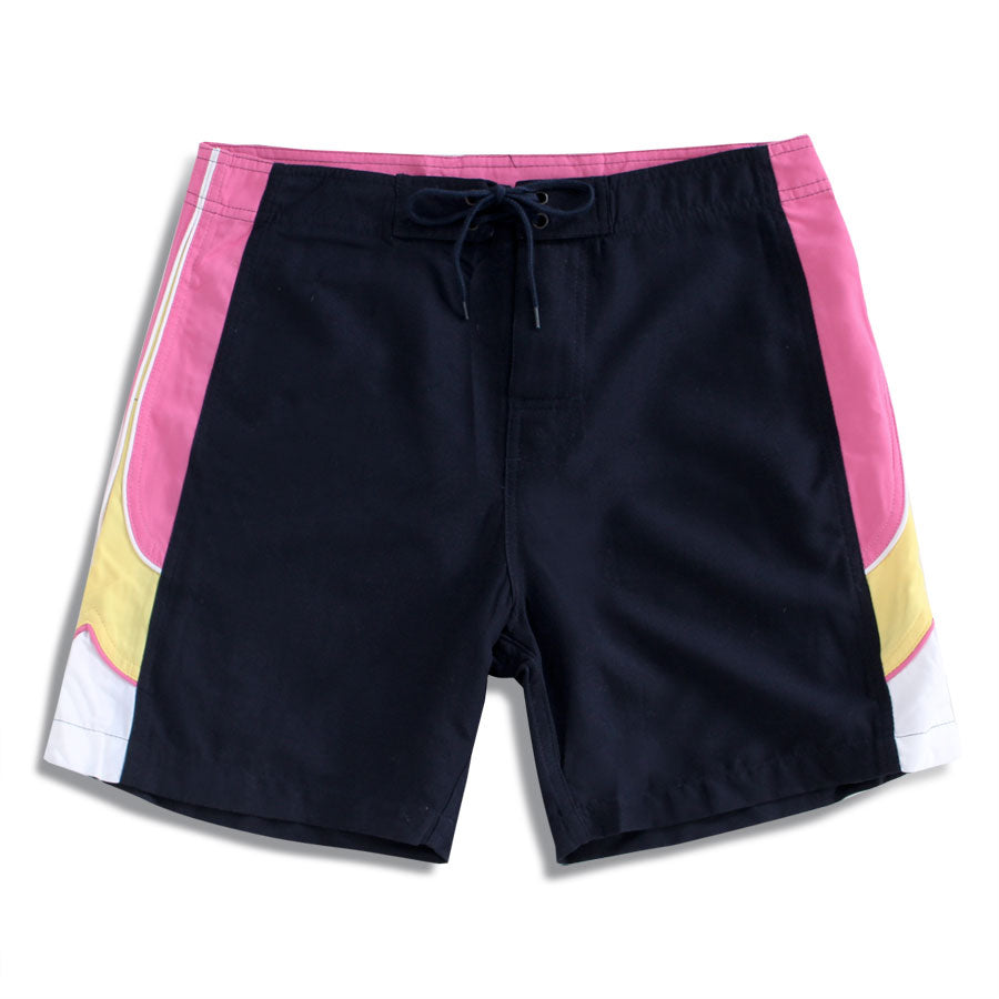 N91-B511N (Navy/pink solid satin-14 in.  out seam), Ladies Microfiber boardshorts