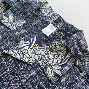 C90-A517N (Vintage navy pineapple), Men 100% Cotton Aloha Shirts.