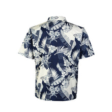 Load image into Gallery viewer, N90-P517 (Navy with cream floral), Men Microfiber Knitted Aloha Polo Shirt