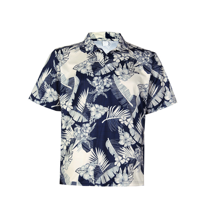 N90-P517 (Navy with cream floral), Men Microfiber Knitted Aloha Polo Shirt