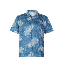 Load image into Gallery viewer, N90-P527 (Vintage blue pineapple), Men Microfiber Knitted Aloha Polo Shirt