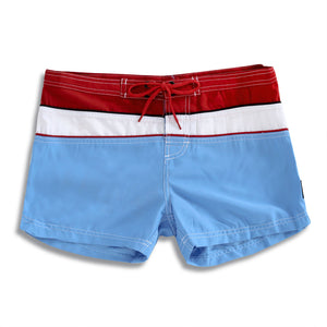 N91-B533 (Pacific/red solid satin - 8 in. out seam), Ladies Microfiber boardshorts 100% Microfiber