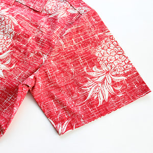 C90-A547 (Vintage red pineapple), Men 100% Cotton Aloha Shirt