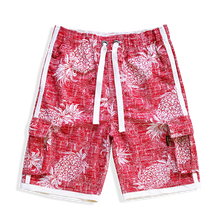 Load image into Gallery viewer, N90-T547 (Vintage red pineapple, cargo pockets), Men Microfiber Swimtrunk