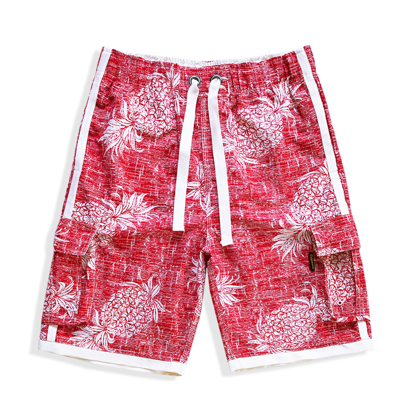 N90-T547 (Vintage red pineapple, cargo pockets), Men Microfiber Swimtrunk