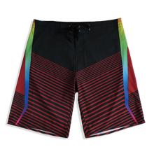 Load image into Gallery viewer, N90-B6048 (Marching rainbow-black), Men Microfiber Boardshorts (4-way stretch)