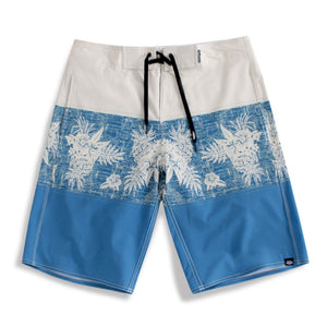 N90-B627 (Rustic print-blue), Men Microfiber Boardshorts (4-way stretch)