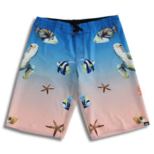 Load image into Gallery viewer, N90-B628 (Ocean life-blue), Men Microfiber Boardshorts (4-way stretch)