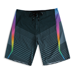 N90-B6662 (Marching rainbow-steel), Men Microfiber Boardshort (4-way stretch)- two pockets