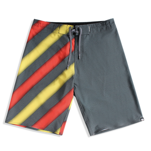 N90-B6684 (Melange stripe-yellow), Men Microfiber Boardshorts (4-way stretch) - two pockets