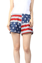 Load image into Gallery viewer, N91-CW9146 (Time honored flag),  Ladies 4-way stretch comfort waist shorts
