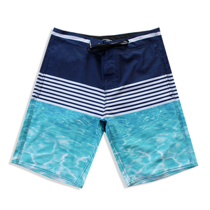 N90-B9159 (Dtripe divide-navy/teal), Men Microfiber Boardshorts (4 - way stretch)
