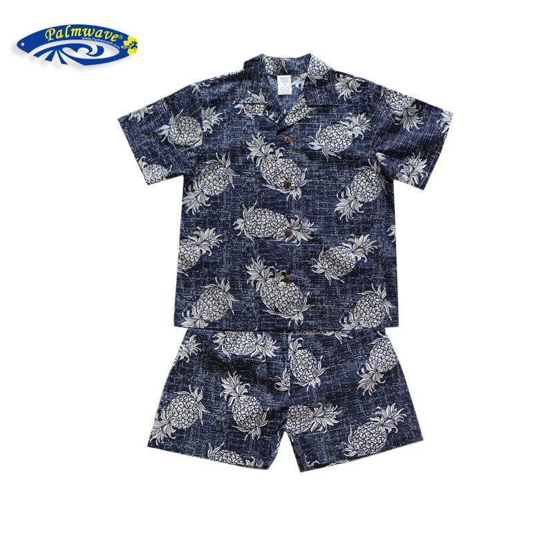 C20-CS517N (Vintage navy pineapple), Boys Cotton Cababa Sets