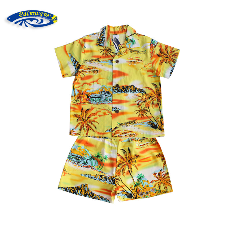 C20-CS8845 (Yellow scenery), Boys Cotton Cababa Sets