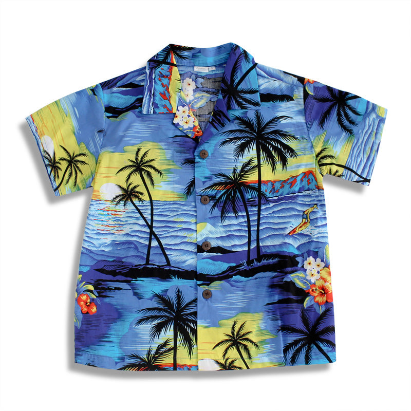 C5-A064 (Blue scenery), Boys Cotton Aloha shirt