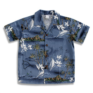 C5-A460 (Blue surf), Boys Cotton Aloha shirt