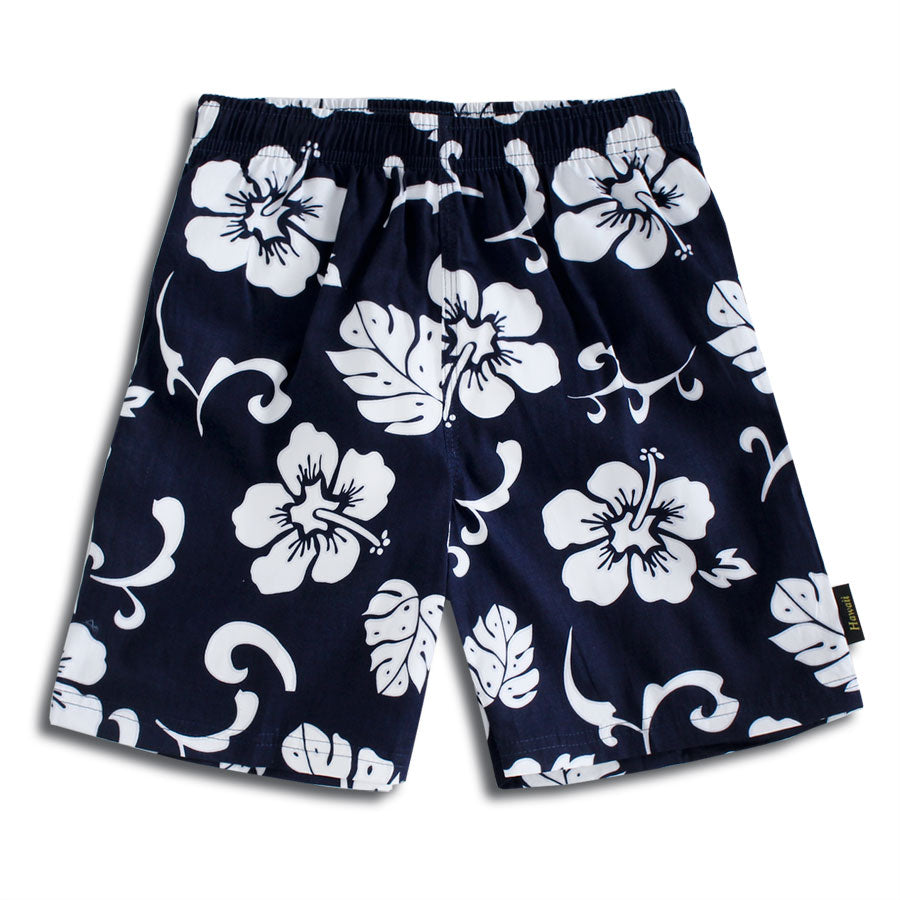C50-T110N (Navy floral), Boys Cotton Swimtrunk