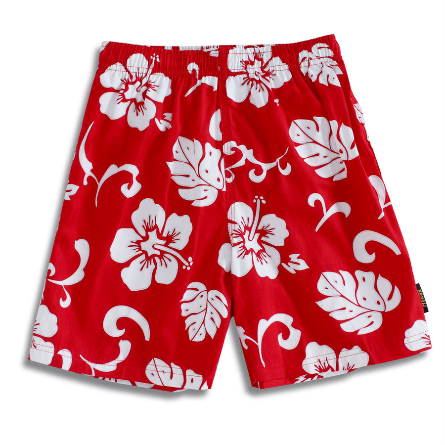 C50-T190 (Red floral), Boys Cotton Swimtrunk