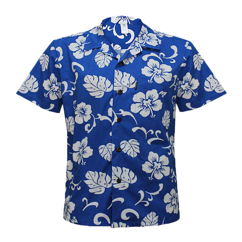 C90-A120 (Royal blue hibiscus), Men 100% Cotton Aloha Shirts.