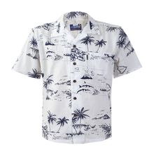 Load image into Gallery viewer, C90-A290 (White map), Men 100% Cotton Aloha Shirts.
