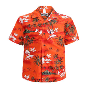 C90-A5409 (Salmon surf), Men 100% Cotton Aloha Shirts.