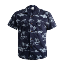 Load image into Gallery viewer, C90-A719 (Vintage navy tree), Men 100% Cotton Aloha Shirts.