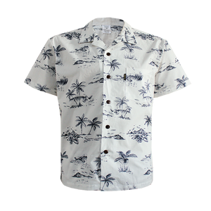 C90-A791 (Vintage white tree), Men 100% Cotton Aloha Shirts.