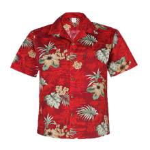 Load image into Gallery viewer, C90-A8457 (Burgundy floral), Mens 100% Cotton Aloha Shirts.