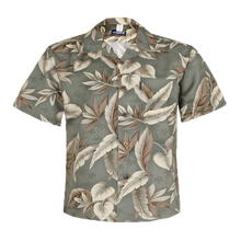 Load image into Gallery viewer, C90-A8577 (Green leaf), Men 100% Cotton Aloha Shirts.