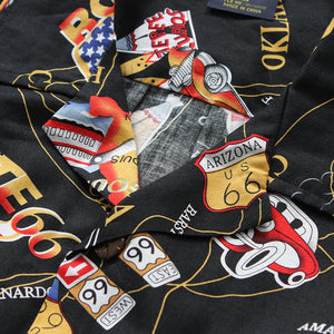 C90-A1094 (Black route 66), Men 100% Cotton Aloha Shirts.