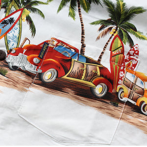 C90-A2994 (Off white vintage car), Men100% Cotton Aloha Shirts.