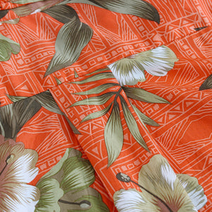 C90-A8459 (Brick floral), Men 100% Cotton Aloha Shirts.