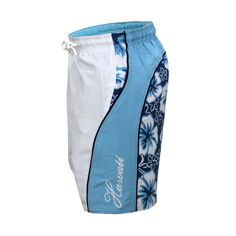 N50-T9192 (Blue background with white floral), Boys Microfiber Swimtrunk