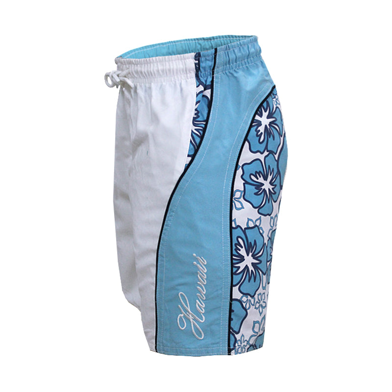 N50-T9921 (White background with blue floral), Boys Microfiber Swimtrunk