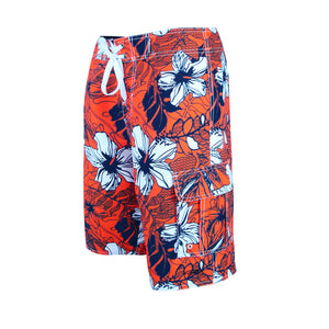 N90-B5819 (Orange blue hibiscus), Men Microfiber Boardshorts (4-way stretch)