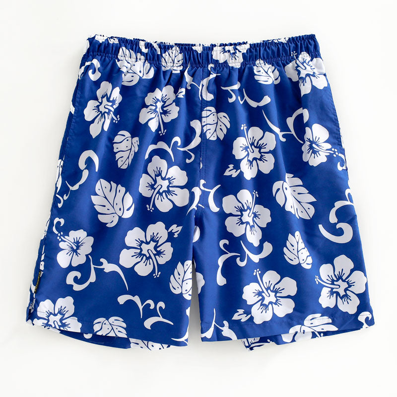 N90-T120 (Royal blue hibiscus), Men Microfiber Swimtrunk