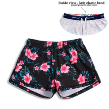 Load image into Gallery viewer, N91-CW9054 (Black with pink hibiscus),  Ladies 4-way stretch comfort waist shorts