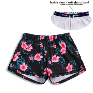 N91-CW9054 (Black with pink hibiscus),  Ladies 4-way stretch comfort waist shorts