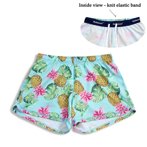 N91-CW9584 (Green with yellow pineapple),  Ladies 4-way stretch comfort waist shorts