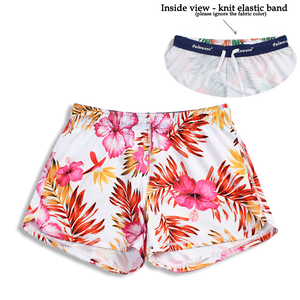 N91-CW9984 (White with pink hibiscus),  Ladies 4-way stretch comfort waist shorts
