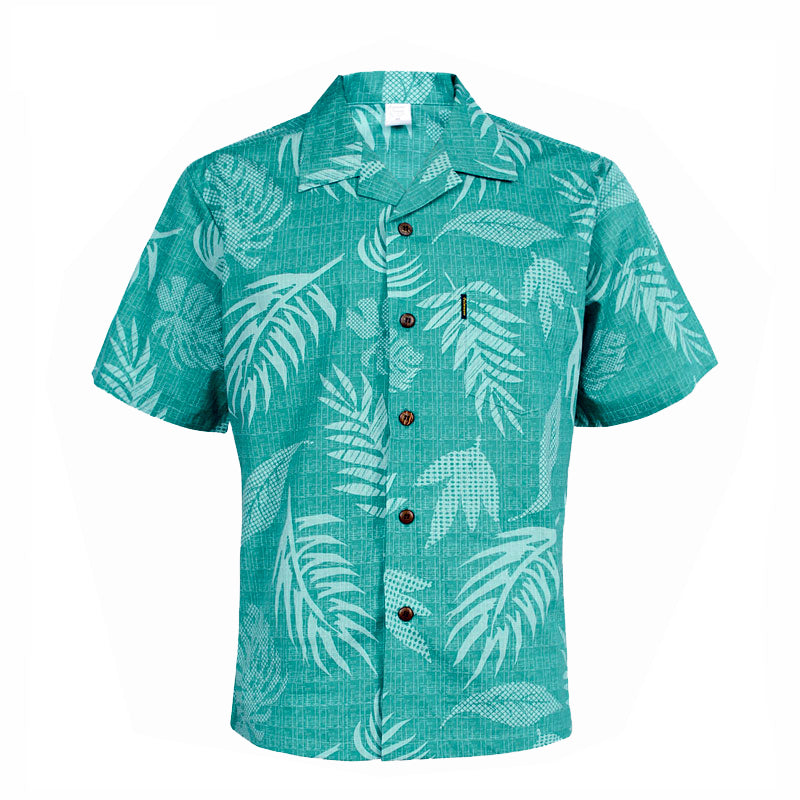 C90-A552 (Aqua leaf), Men 100% Cotton Aloha Shirts.