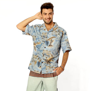 C90-A826 (Aliceblue leaf), Men 100% Cotton Aloha Shirts.