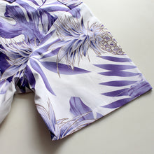 Load image into Gallery viewer, C90-A9936 (Pastel purple leaf), Men 100% Cotton Aloha Shirts.