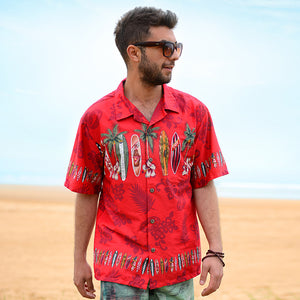 C90-A2447 (Burgundy surfboard), Men 100% Cotton Aloha Shirts.